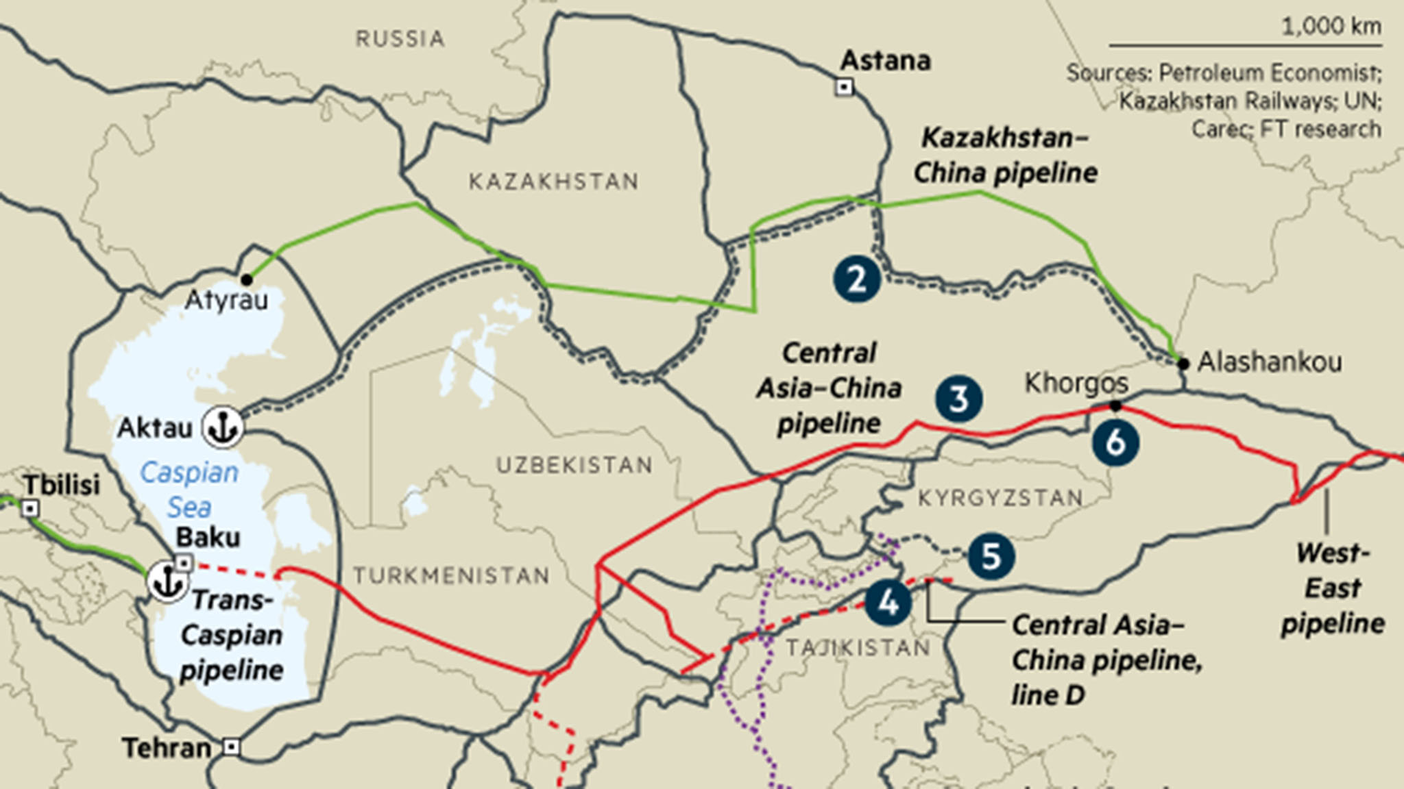 china oil pipeline map Map Connecting Central Asia Financial Times china oil pipeline map