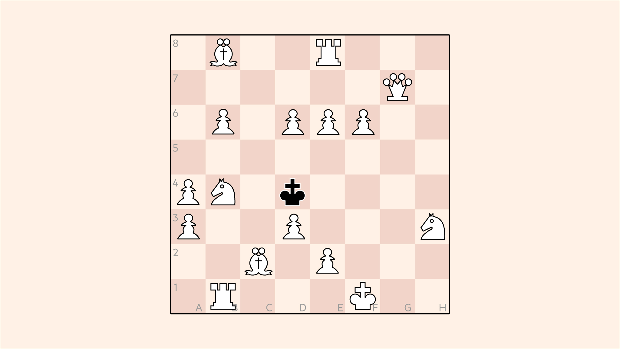 Chess: white's full full 16-man army confronts a lone black king — but where's the mate?
