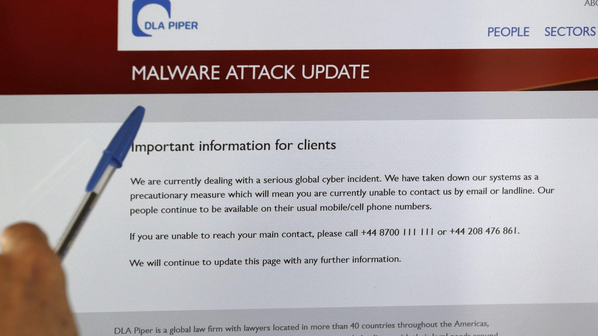 DLA Piper still struggling with Petya cyber attack