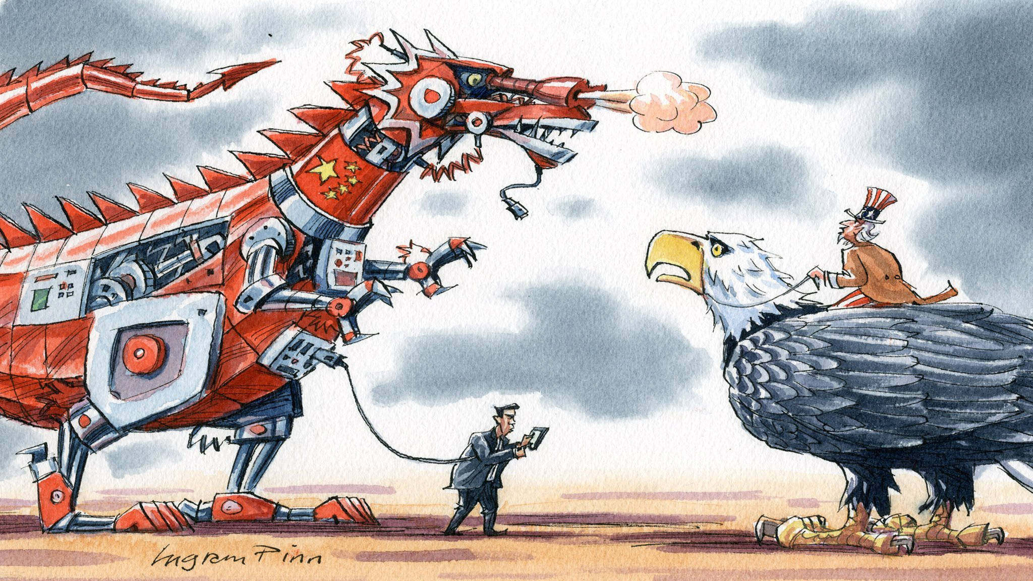 Image result for us china tech war cartoons