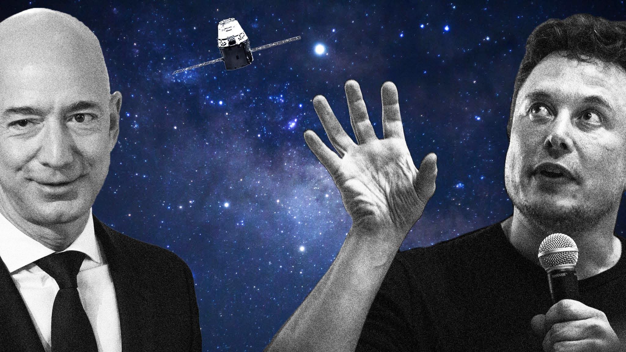 أشهر الشخصيات التقنية elon musk and jeff bezos space race