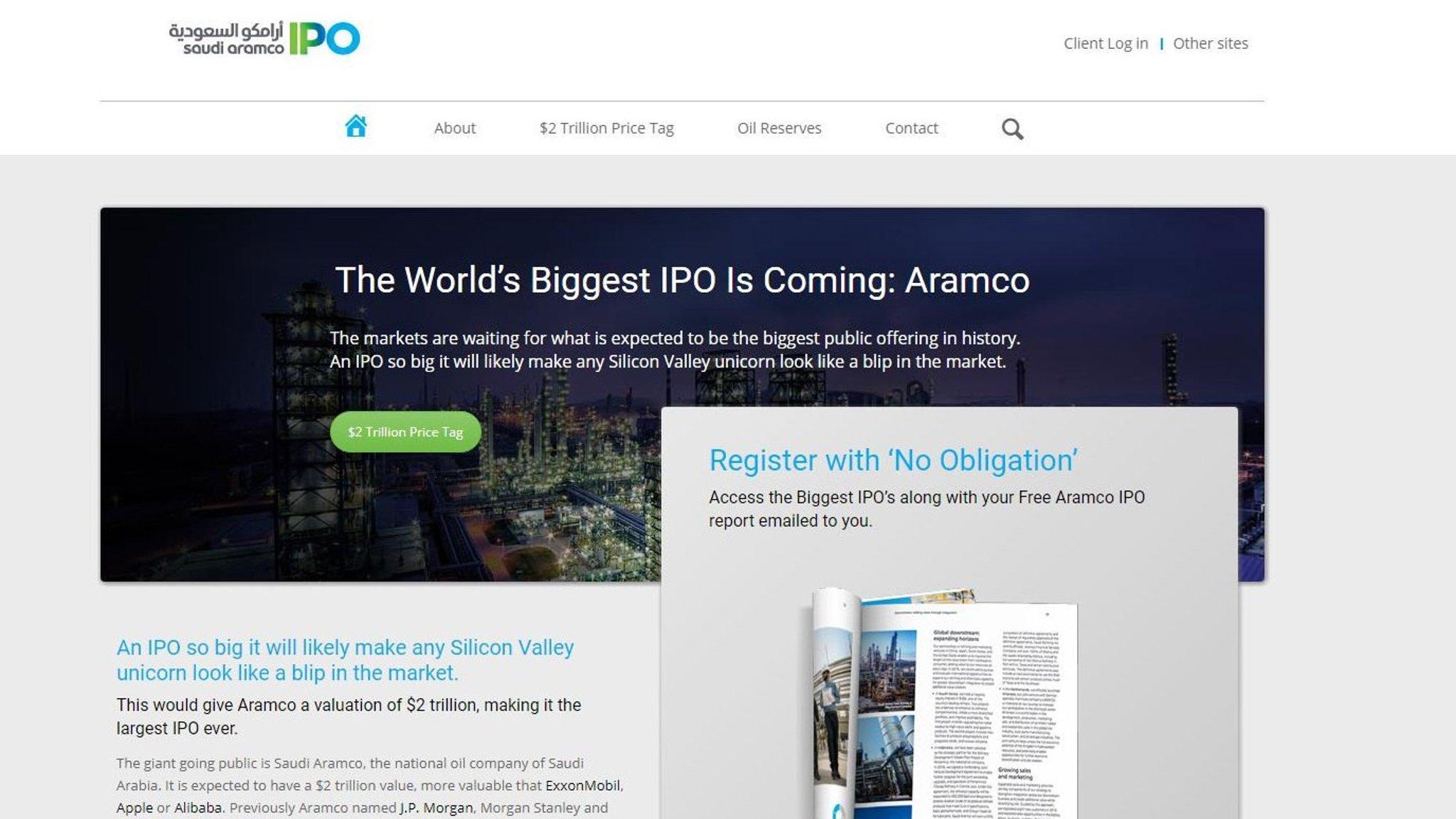 Fake Saudi Aramco website surfaces   Financial Times