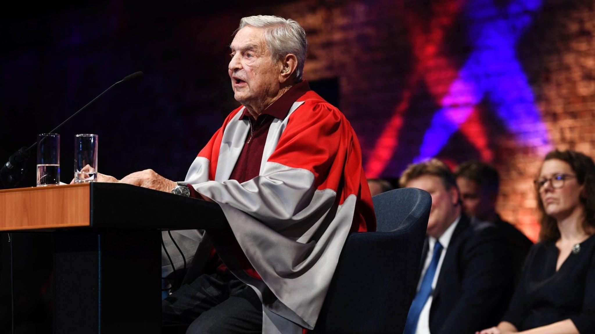 George Soros waves goodbye to Budapest