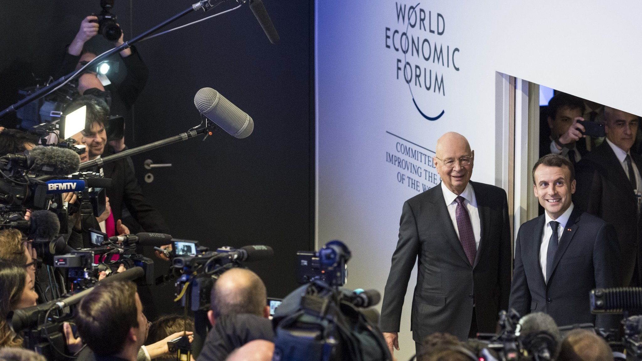 Emmanuel Macron leads Davos riposte to protectionism