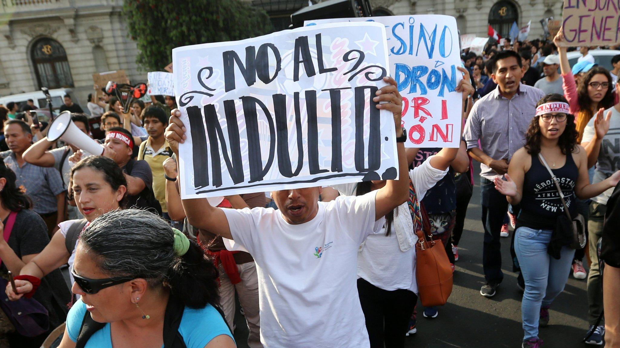 Alberto Fujimori apologises as protests erupt in Peru